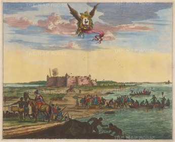 Natal: Rio Grande do Norte (Fluvius Grandis). View of the citadel at the mouth of the Potenji River. With key in Latin and arms of Rio Grande do Norte (Northeastern Dutch Brazil).