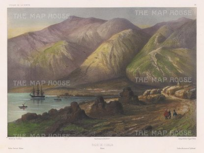 Chile: Cobija. View along the Pacific Coast. After Jean Touchard, artist on the voyage of La Bonite 1836-7.