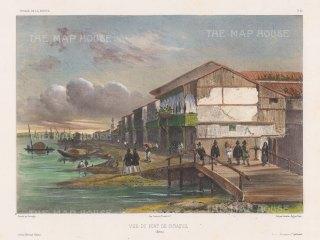 Ecuador: Port of Santiago de Guayaquilt on the Guayas River. After Barthélemy Lauvergne, artist on the voyage of La Bonite 1836-7.