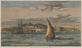 "Illustrated London News: Montevideo, Uruguay. 1865. A hand coloured original antique wood engraving. 14"" x 7"". [SAMp1349]"