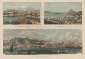 "Illustrated London News: Rio de Janeiro. 1889. A hand coloured original antique wood engraving. 13"" x 9"". [SAMp1429]"