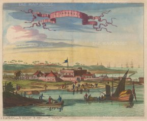 "Ogilby: Fort Oranje. 1671. A hand coloured original antique copper engraving. 14"" x 12"". [SAMp90]"