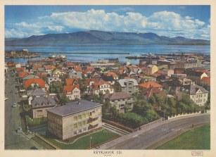 Panoramic view over the city towards Faxa Bay and Mount Snæfell.