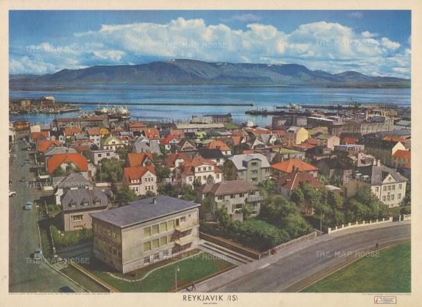 "Europa et Schola Editio: Reykjavik, Iceland. c1960. An original vintage colour print. 36"" x 24"". [SCANp362]"