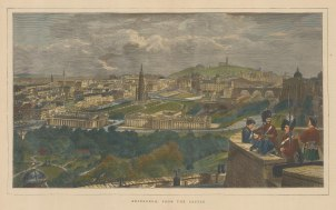 "Graphic Magazine: Edinburgh. 1871. A hand coloured original antique wood engraving. 20"" x 12"". [SCOTp1284]"