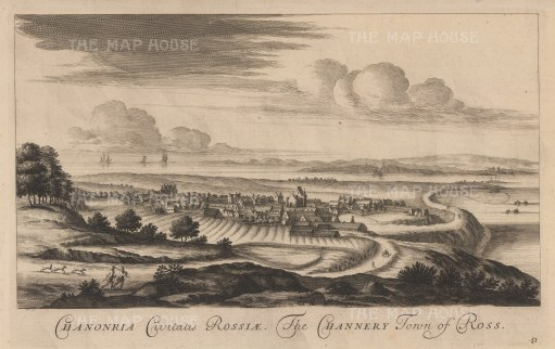 Fortrose:Amalgamation of the towns of Chanonry and Rosemarkie. In the foreground are run-rigs, unenclosed strips of separately cultivated ground.