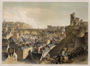 "Swarbreck: North Bridge, Edinburgh. 1837. A hand coloured original antique lithograph. 16"" x 12"". [SCOTp821]"
