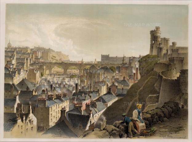 "Swarbreck: North Bridge, Edinburgh. 1837. A hand coloured original antique lithograph. 16"" x 12"". [SCOTp821]"