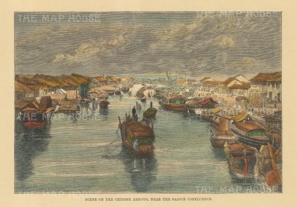 """Reclus: Ho Chi Min City (Saigon), Vietnam. 1894. A hand coloured original antique wood engraving. 8"""" x 6"""". [SEASp1676]"""