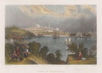"Bartlett: Baltimore, Maryland. c1840. A hand coloured original antique steel engraving. 8"" x 6"". [USAp4103]"