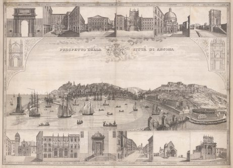 Panorama of the port from the Adriatic. With 14 vignettes of principal structures.
