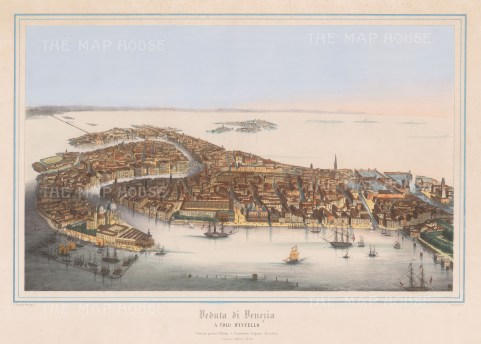 Venice: Rare bird's Eye view of the city of Venice from the Guidecca.