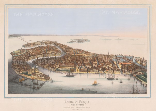 Rare: Bird's Eye view of the city of Venice from the Guidecca.
