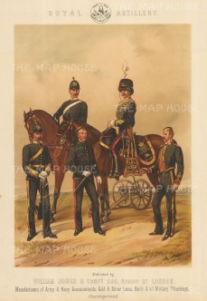 "Jones & Co: Royal Artillery. c1886. An original antique chromolithograph. 13"" x 18"". [MILp140]"