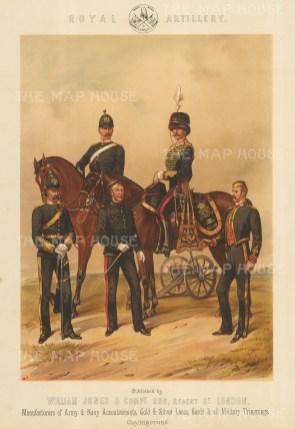 "Jones & Co: Royal Artillery. c1886. An original antique chromolithograph. 13"" x 18"". [MILp140]"