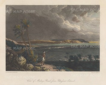 Gulf of Carpentaria: View of Malay Road near Cape Arnhem from Pobassoo's Island. After William Westall, artist on HMS Investigator.