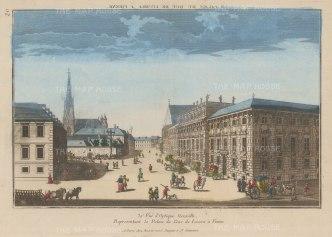 Vienna: Lobkowitzplatz. With St Stephen's Cathedral and the Palace of Johann Wenzel. Count von Gallas, Duke of Lucera (Palais Dietrichstein-Lobkowitz).