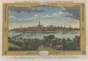 "Millar: Vienna, Austria. 1782. A hand coloured original antique copper engraving. 12"" x 8"". [AUTp222]"