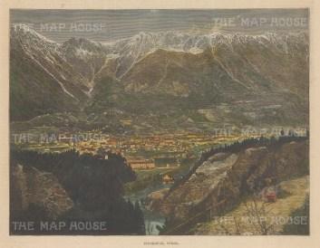 "Illustrated London News: Innsbruck, Austria. 1886. A hand coloured original antique wood engraving. 14"" x 6"". [AUTp237]"