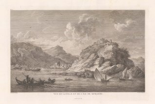 View of Apollonia and the monastery of Panagia Chrysopigi.