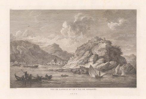 Sifnos: View of Apollonia and the monastery of Panagia Chrysopigi.