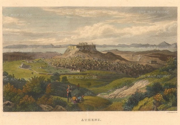 """Kelly: Athens. 1844. A hand coloured original antique steel engraving. 8"""" x 5"""". [GRCp875]"""
