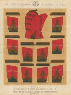 """Jones & Co: Uniforms. c1886. An original antique chromolithograph. 13"""" x 18"""". [MILp166]"""