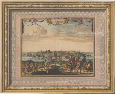 "Van der Aa: Stockholm, Sweden. c1730. A hand coloured original antique copper engraving. 17"" x 13"". [SCANp297]"