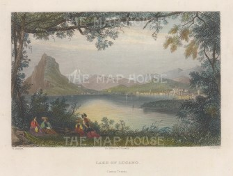 "Bartlett: Lake Lugano. 1839. A hand coloured original antique steel engraving. 8"" x 6"". [SWIp742]"