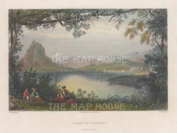 "Bartlett: Lake Lugano, Switzerland. 1839. A hand coloured original antique steel engraving. 8"" x 6"". [SWIp742]"