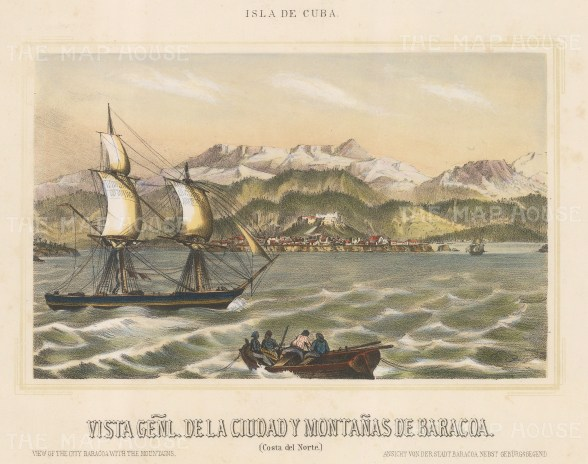 "Mialhe: Baracoa, Cuba. 1853. A hand coloured original antique lithograph. 10"" x 8"". [WINDp1045]"