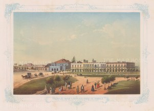 Cuba: Havana. View of the Tacon Theatre and paseo Isabel II from the puerta del Monserrate. With decorative blue border. From the 2nd 'pirate' edition by Bernardo May.