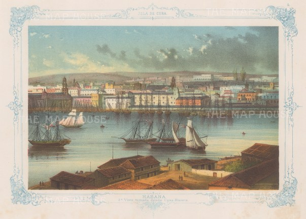 Cuba: Havana. Panoramic view (2nd) from Casa Blanca. With decorative blue border. From the 2nd 'pirate' edition by Bernardo May.