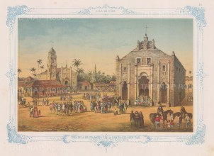 Cuba: The central plaza with the Church of San Juan Bautista on the left and to the right, the Church and Hermitage of Good Voyages. With Blue decorative border.