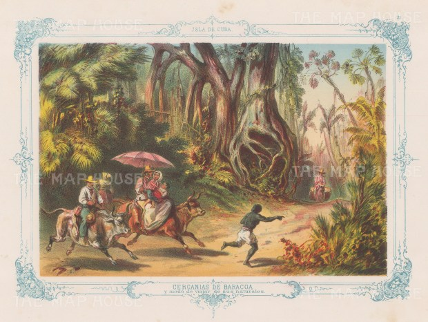 Cuba: Baracoa. Inhabitants riding Ox within the forest with decorative blue border. From the 2nd 'pirate' edition by Bernardo May.