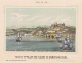 "Mialhe: Santiago de Cuba. 1853. A hand coloured original antique lithograph. 10"" x 8"". [WINDp700]"