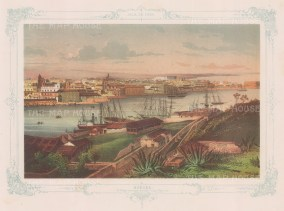 Cuba: Havana.Panoramic view (3rd) from the Casa Blanca. With decorative blue border. From the 2nd 'pirate' edition by Bernardo May.