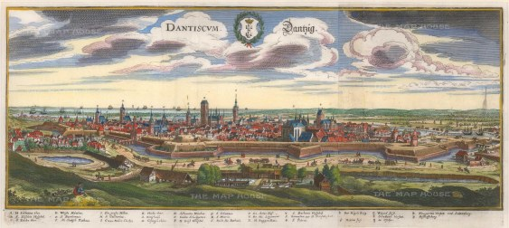 Danzig (Gdansk): Panorama with cartouche of the city insignia and key of principal buildings.