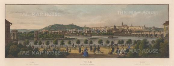 "Monstadt: Prague, Czech Republic. c1850. A hand coloured original antique lithograph. 26"" x 10"". [CEUp456]"