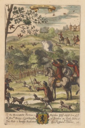 Shooting Flying: The first mention of shooting flying birds rather than perched birds is by Blome. The new fashion probably began with the return of Charles II from exile.