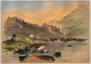 SCARCE. Monaco and Coast of Genoa. The first example of more than one lithographic stone used to print colour. Finished by hand.