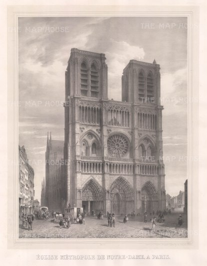 "Simonau: Notre Dame. 1843. An original antique lithograph. 23"" x 29"". [FRp1349]"