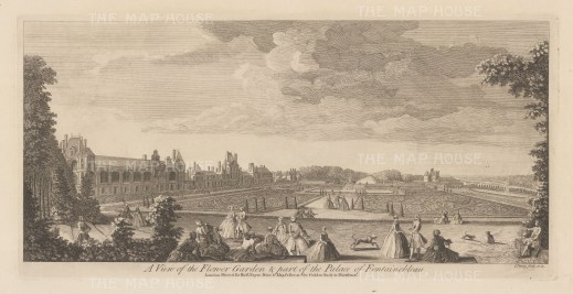 "Sayer: Fountainbleau. 1774. An original antique copper engraving. 18"" x 10"". [FRp1577]"