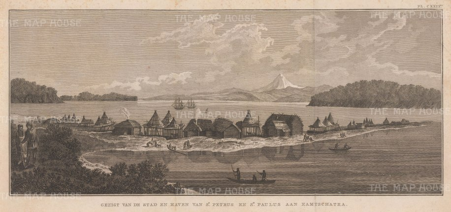 Petropavlossk, Kamchatka: View of the settlement, named by Vitus Bering after his ships St Peter and St Paul, with the Resolution and Discovery at anchor. After John Webber, artist on the Third Voyage.