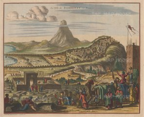 "Van der Aa: Derbent, Dajistan. c1715. A hand coloured original antique copper engraving. 14"" x 12"". [RUSp773]"