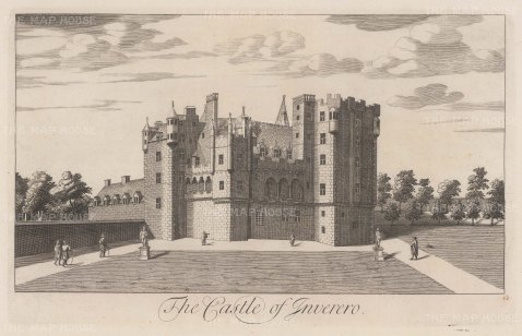 Castle of Inverero or Gordon Castle. Near Fochabers in Moray, and immortalised by Robert Burns in his poem, 'Castle Gordon'.