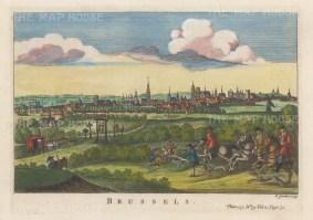 "Salmon: Brussels, Belgium. 1759. A hand-coloured original antique copper engraving. 10"" x 6"". [BELp271]"