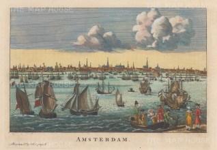 "Salmon: Amsterdam, Netherlands. 1759. A hand-coloured original antique copper engraving. 10"" x 6"". [NETHp206]"