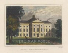 "Meyer: Raleigh, North Carolina. 1837. A hand-coloured original antique steel engraving. 6"" x 4"". [USAp4943]"