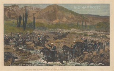 Battle of Kabul: Chardeh Valley. British Cavalry charging the Afghans in order to cover the retreat of the artillery. Second Anglo-Afghan War.